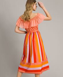 Multicolour striped poplin skirt Multicolour Grenadine Print Woman 191TT2413-03