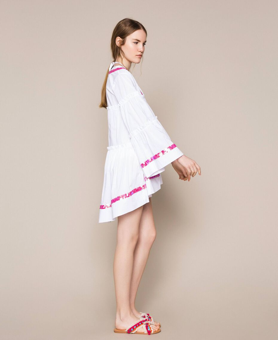Kaftan with flounces and sequins White Woman 201LM2AQQ-02