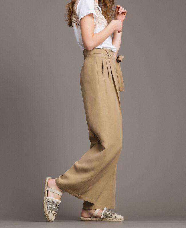 """Pantalon en lin Marron """"Désert Froid"""" Femme 191TT230A-03"""