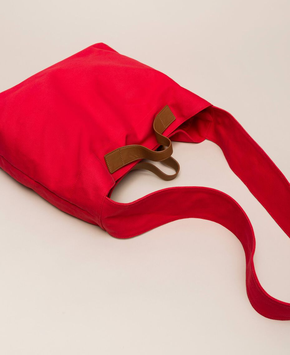 Canvas shopper with shoulder strap True Red Woman 201LM7ZKK-03