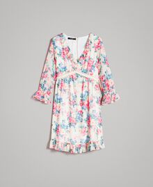 Georgette-Kleid mit Blumenmuster Motiv Tuch Weiße Blumen Frau 191MP2331-0S