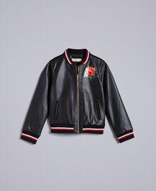 Jacke aus Lederimitat mit Stickereien Zweifarbig Schwarz / Mohnrot Kind GA82B1-01