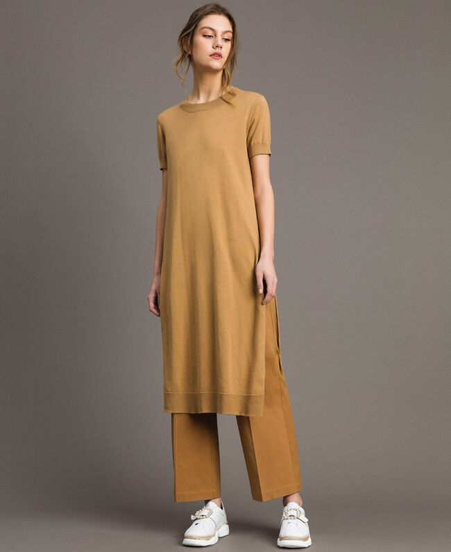"Robe longue avec fentes Beige ""Savane"" Femme 191ST3012-01"