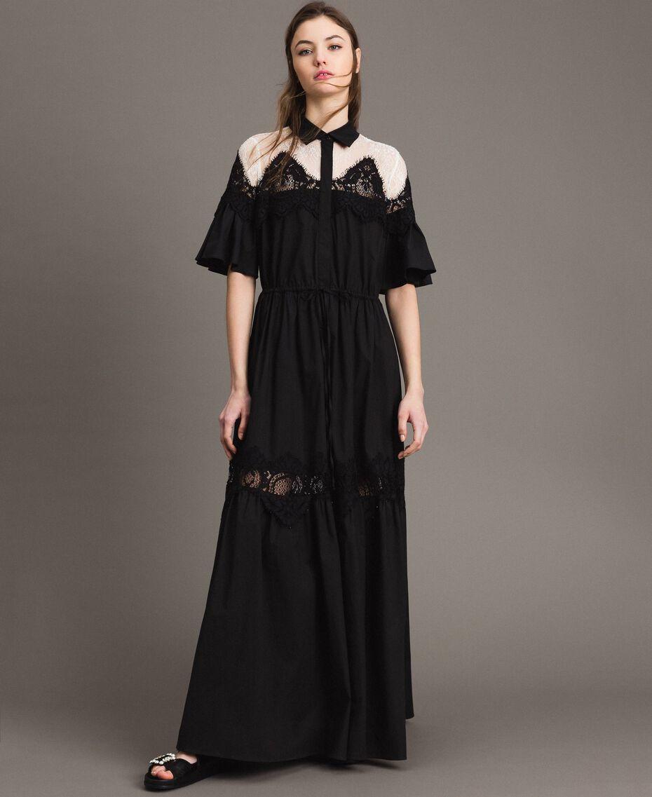 Poplin long shirt dress with lace Black Woman 191TT2122-02