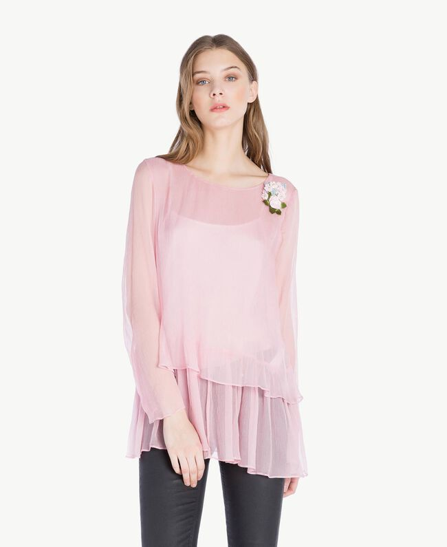 Bluse aus Seide Rosa Hortensie Frau PS8224-01