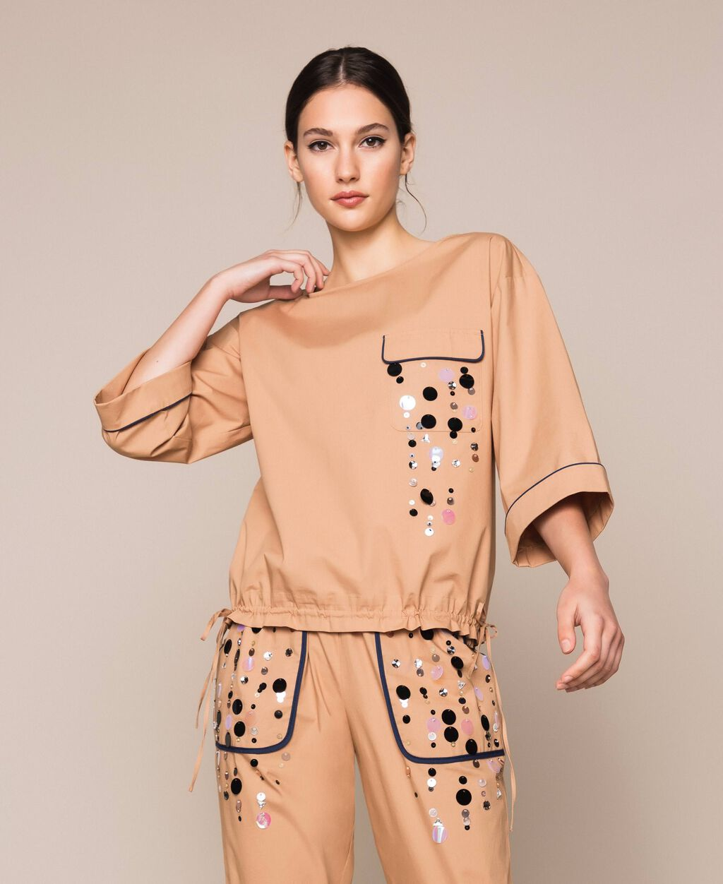 Poplin blouse with sequin embroidery