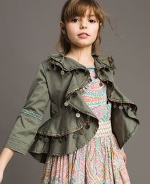 Cotton jacket with mini medals Tundra Green Child 191GJ2070-0S