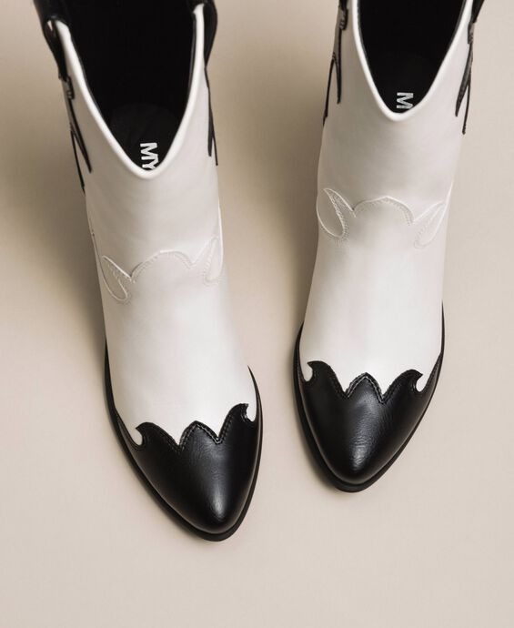 Faux leather two-tone Texas boots