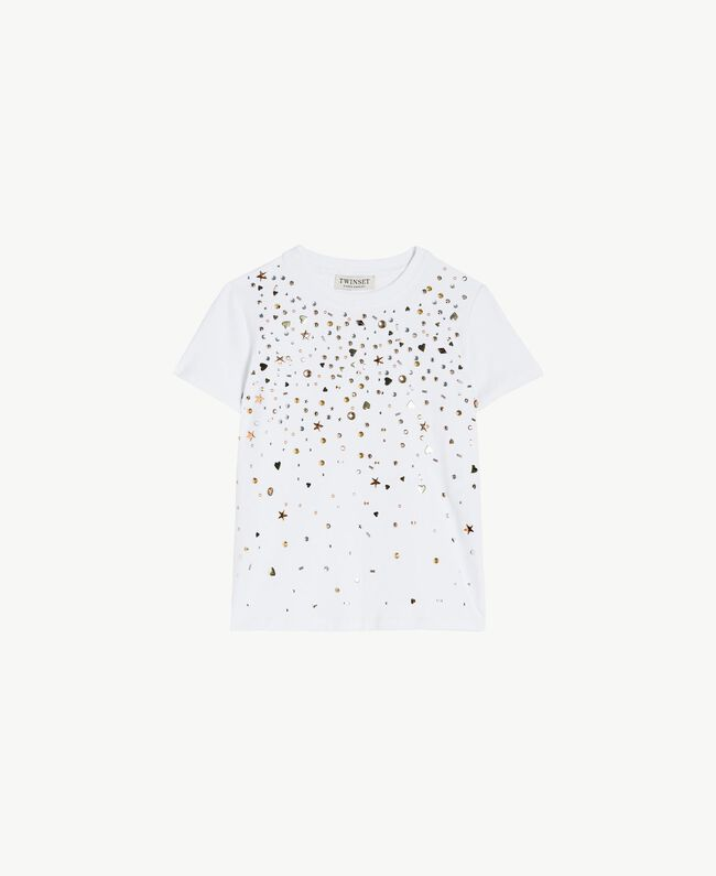 "T-shirt clous Blanc ""Papers"" Enfant GS82G3-01"