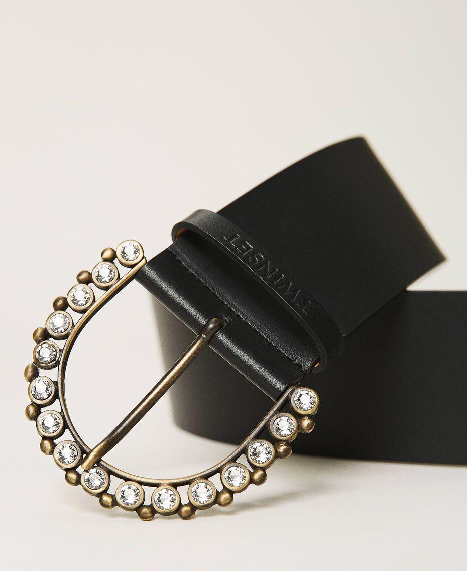 Cinturón de piel con hebilla joya Negro Mujer 211TO5061-02