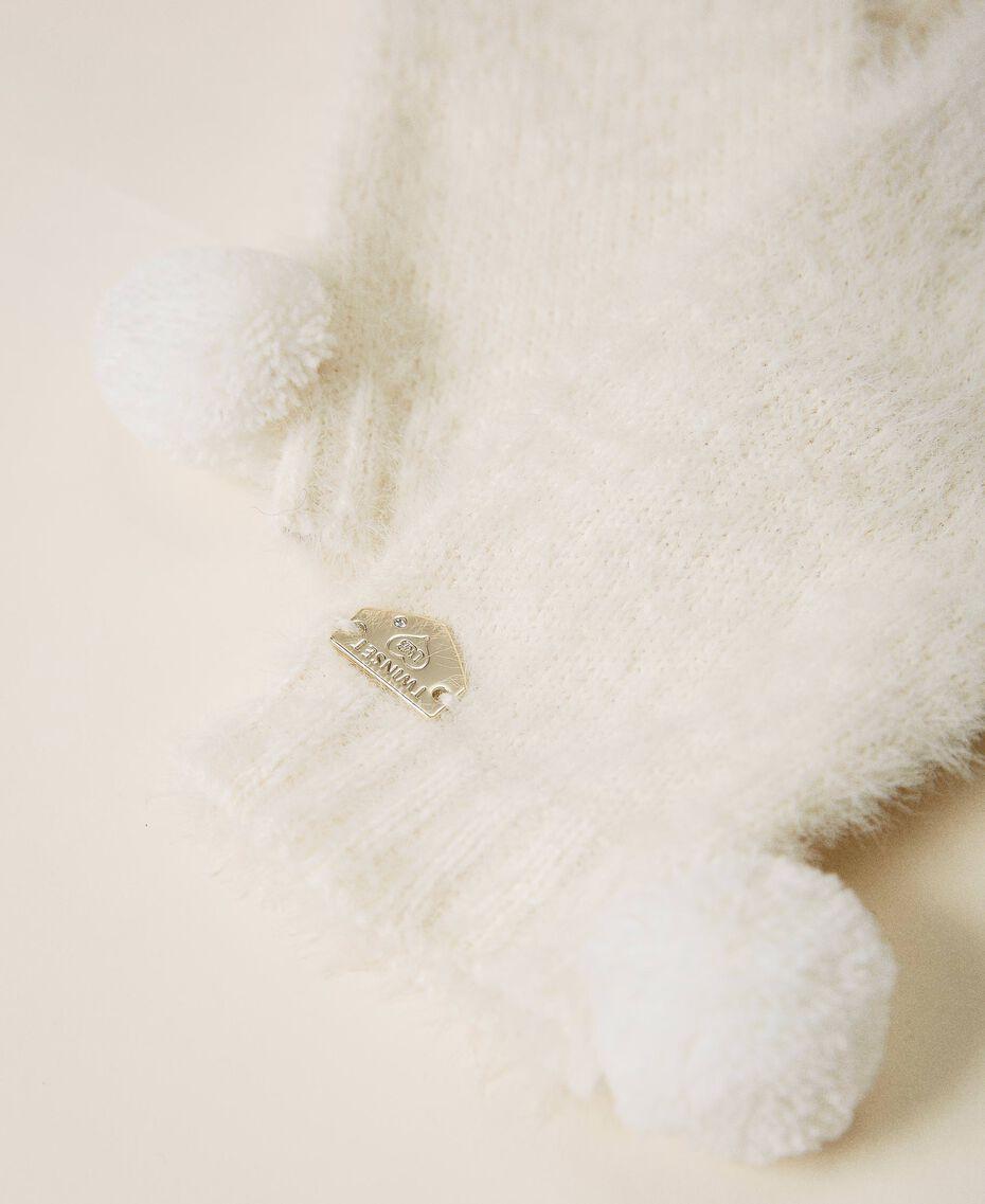 Перчатки из меланжевой пряжи Слоновая кость женщина 202LI4ZTT-02