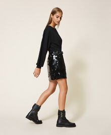 Plush fabric dress with sequins Black Woman 202MT2121-03