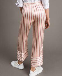 Gestreifte Satin-Hose Streifen Pearl Pink Frau 191TP245B-04