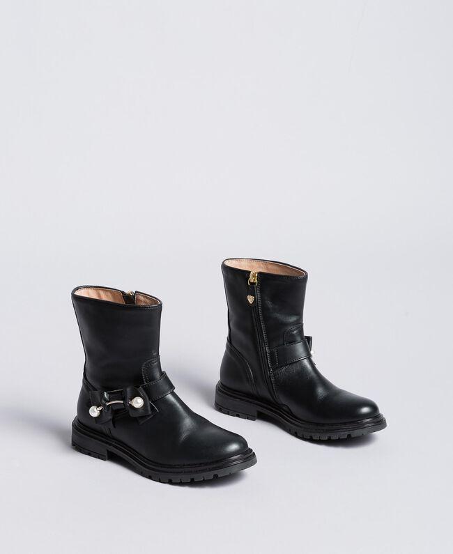 Кожаные сапожки с жемчужинами Черный Pебенок HA88AJ-01