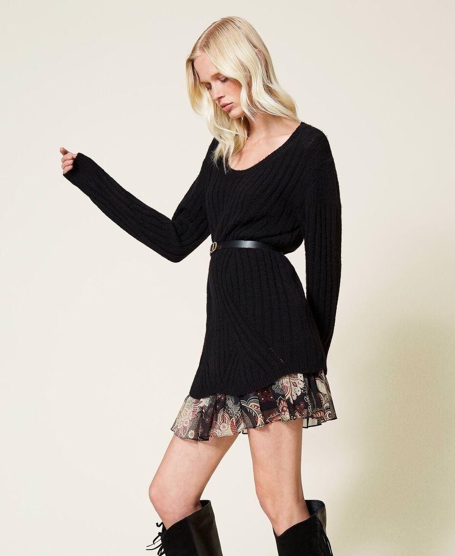 Robe en laine mélangée avec fond de robe floral Bicolore Noir / Imprimé Indian Flower Noir Femme 212TP3510-02