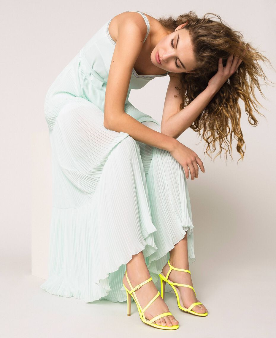 Fluorescent faux leather high heel sandals Fluorescent Yellow Woman 201MCT020-0S