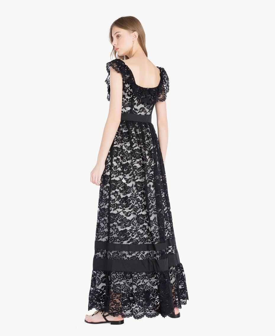 Langes Kleid aus Spitze Schwarz Frau TS828N-03