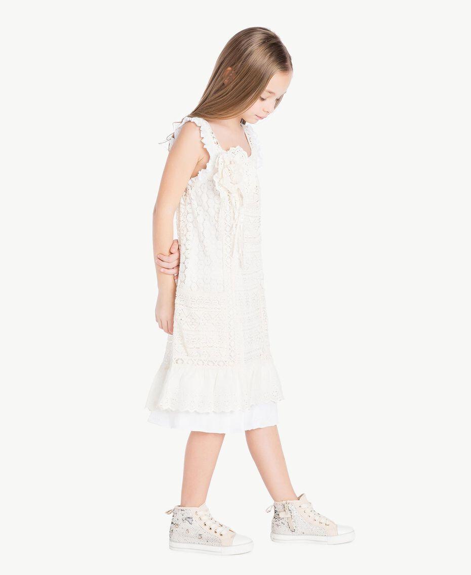 Kleid mit Spitze Zweifarbig Papyrusweiß / Chantilly Kind GS82Z3-03