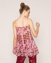 """Printed georgette top with micro frills """"Candy"""" Pink Geometric Print Woman 201ST2184-04"""