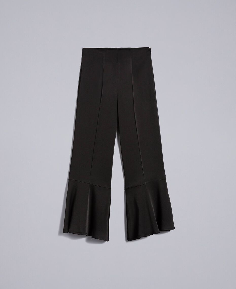 Cropped-Hose aus Envers-Satin Schwarz Frau TA824E-0S