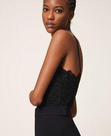 Crêpe de Chine and lace jumpsuit Black Woman 202TT2282-03