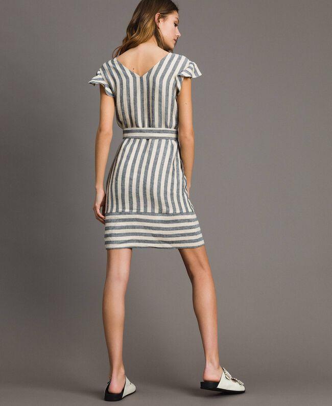 "Two-tone striped linen dress Two-tone Black / ""Marzipan"" Beige Woman 191TT2315-04"