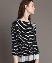 Blouse à pois avec broche nœud Bicolore Noir / Blanc Femme 191MP2363-02
