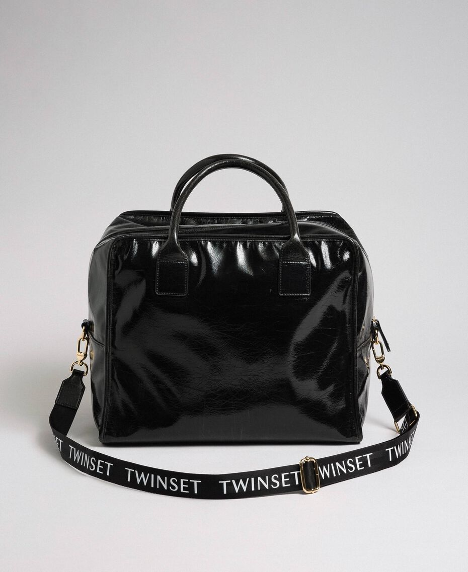 Faux patent leather weekend bag Black Woman 192TA7172-02