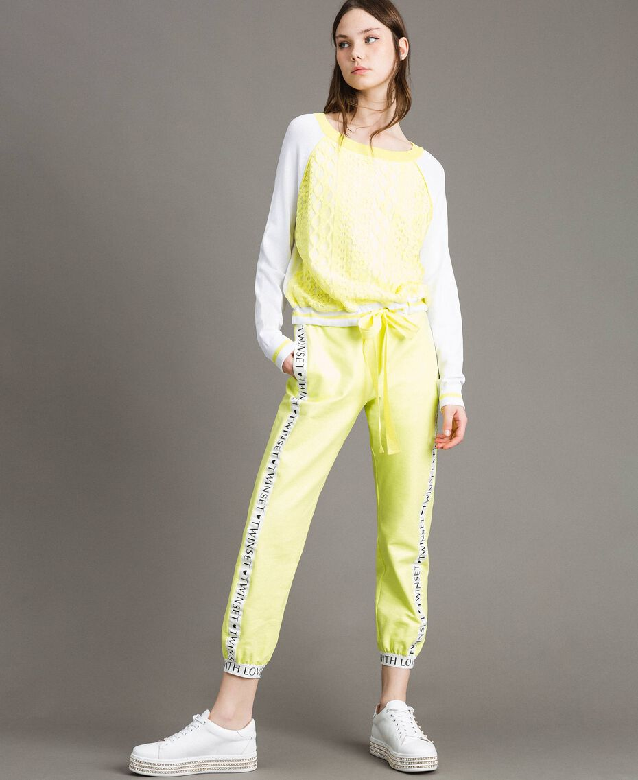 """Jumper with lace-effect print Two-tone Optical White / """"Lemon Juice"""" Yellow Woman 191LL36BB-02"""