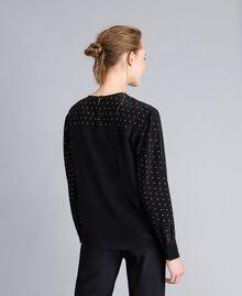 Blusa in seta con borchie Nero Donna PA82EX-03