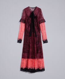 "Valencienne lace multi-colour long dress Burgundy Multicolour / ""Royal Pink"" Woman PA82FS-0S"