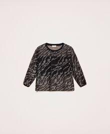 Blouse en tulle avec logo brodé Noir Femme 201ST2043-0S