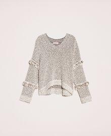 Пуловер из фасонной крученой пряжи с люрексом Разноцветный Слоновая кость / Черный женщина 201TP3162-0S