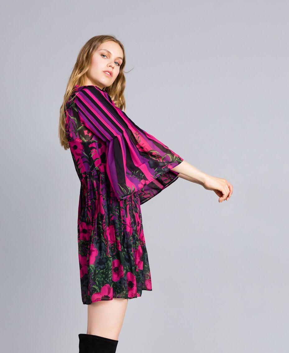"""Kleid aus Chiffon mit Blumenprint Print """"Flower&Stripes"""" Frau TA829Q-02"""