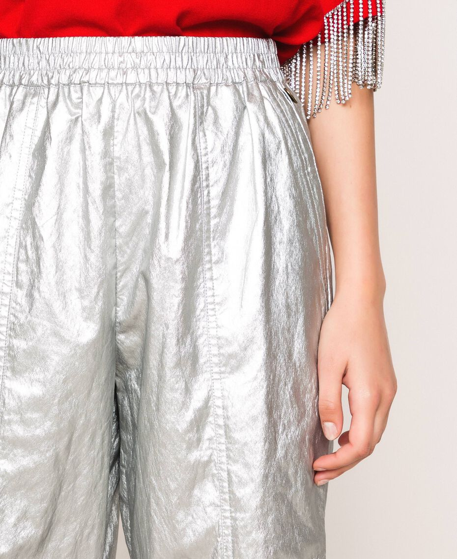 Laminated elasticated trousers Silver Woman 201TP2400-05