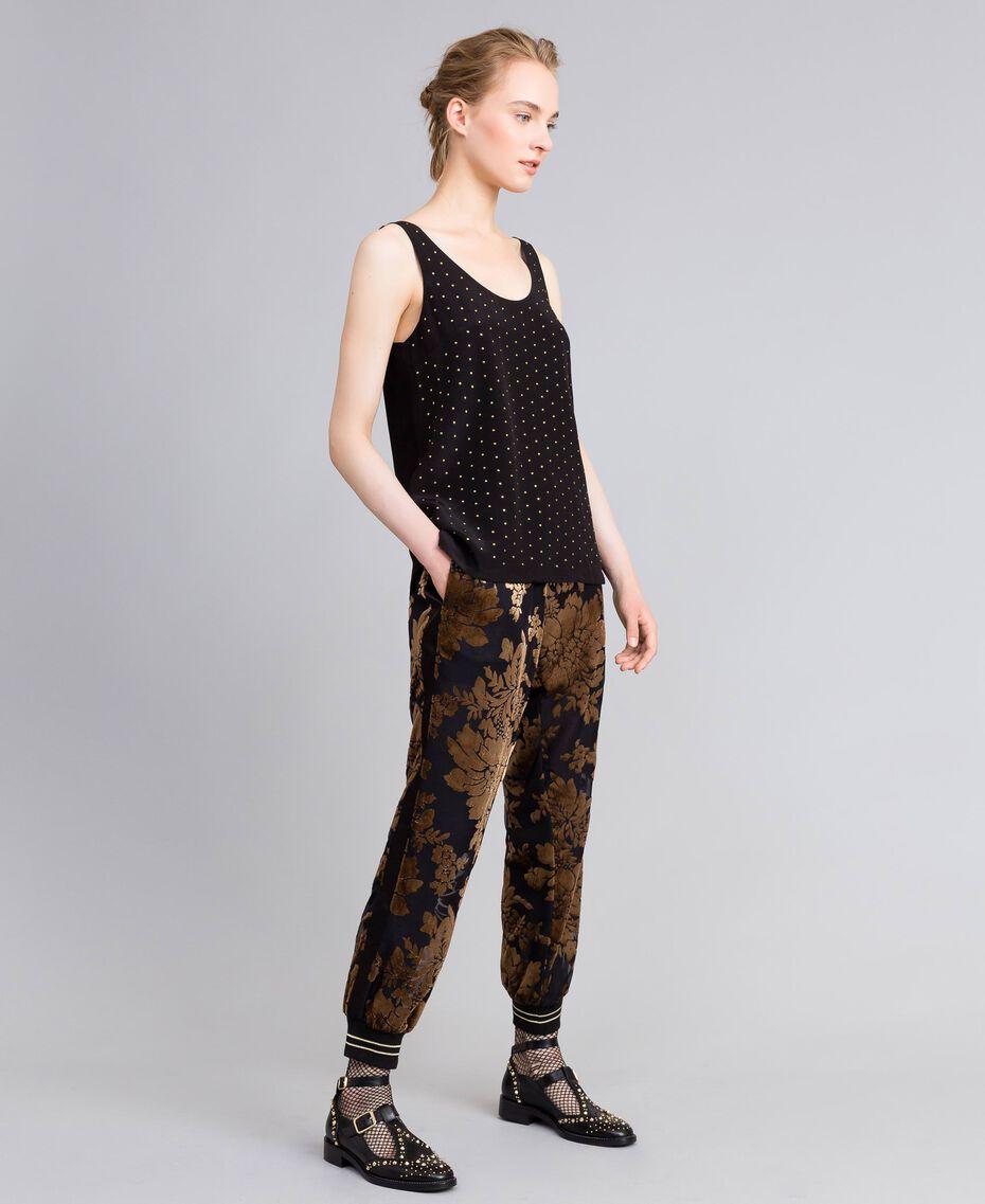 Pantalon de jogging en velours dévoré Camel Dévoré Femme PA82M2-02