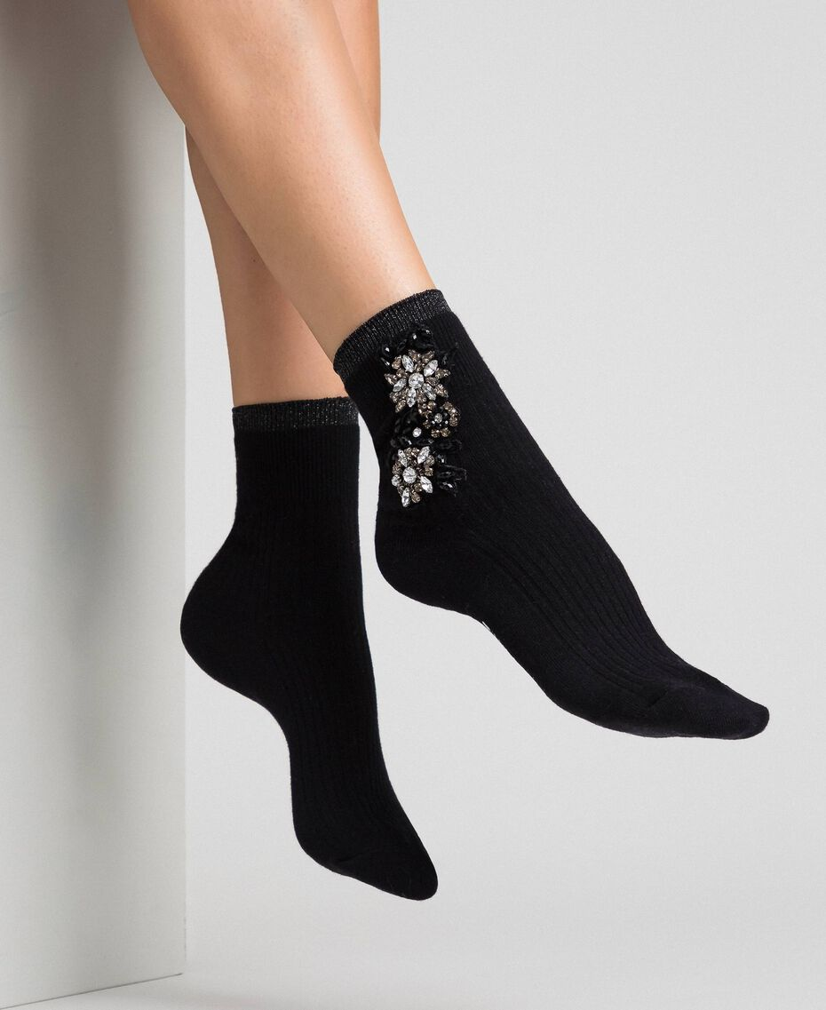 Short socks with stone embroidery Black Woman 192TA4325-0S