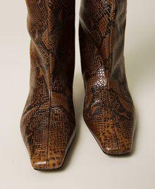 Bottes montantes en cuir animalier Imprimé Whips Marron Femme 212TCP180-02