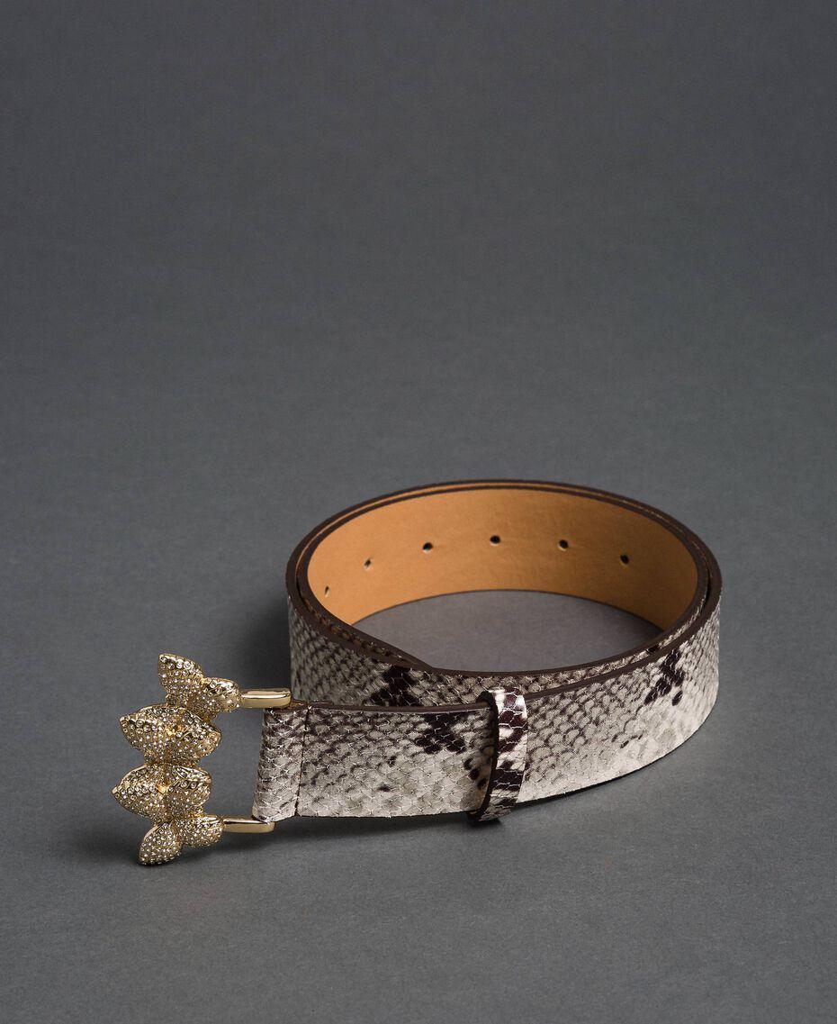 Ceinture en cuir avec boucle en strass Imprimé Python Roche Femme 192TO5343-02