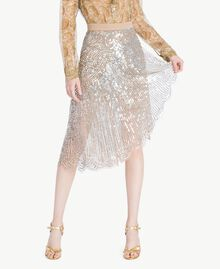 All over sequin skirt Dark Silver Woman TS82EB-01