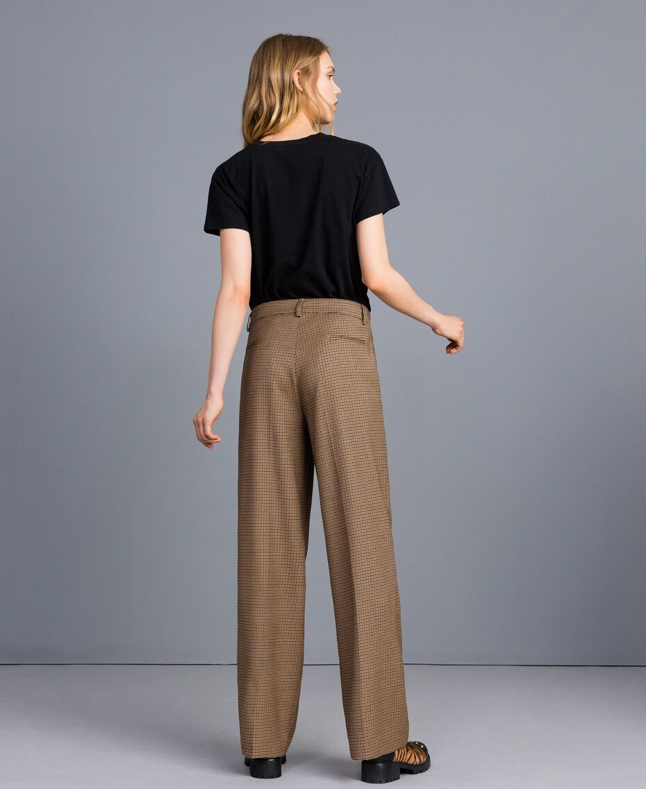"Wool blend palazzo trousers ""Burnt"" Orange Small Check Jacquard Woman TA821S-02"