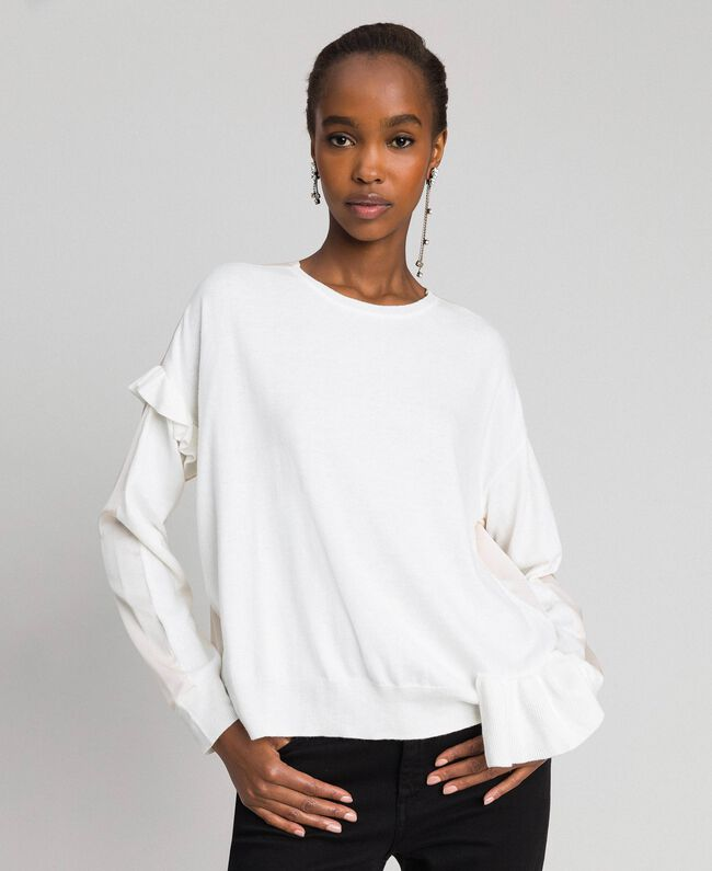 Boxy jumper with asymmetric flounce Vanilla White Woman 192MP3193-01