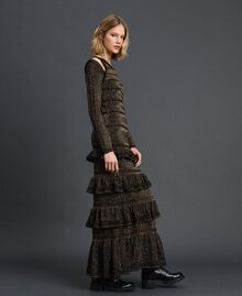 Lurex knit long dress with flounces Black Striped / Lurex Woman 192TT3220-02