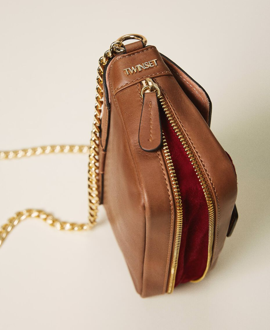 Suede and smooth leather small Rebel shoulder bag Multicolor Nude / Cherry Red / Leather Brown Woman 202TB7053-02