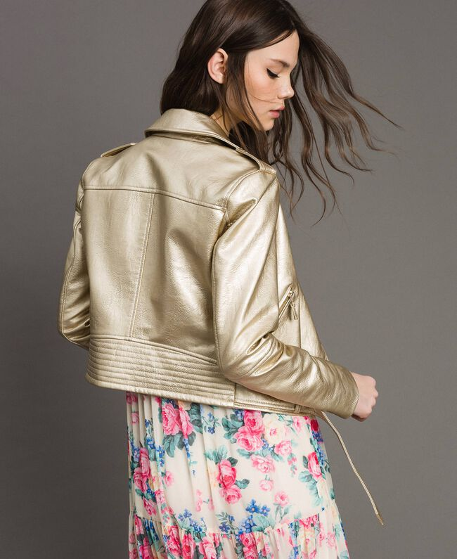 Laminated gold faux leather biker jacket Gold Yellow Woman 191MP2140-01