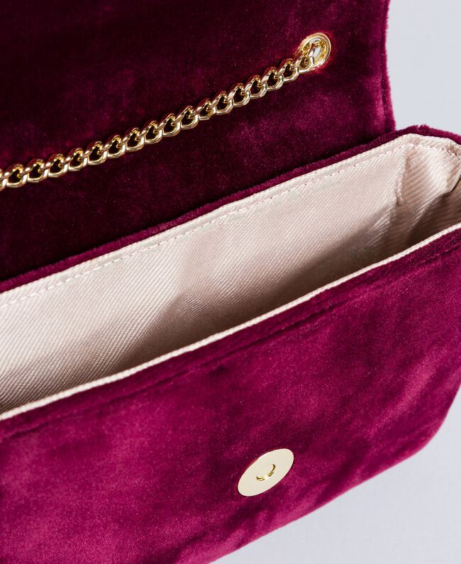 Velvet shoulder bag with embroidery and rhinestones Bordeaux Woman AA8PBN-03