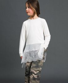 Maxi T-shirt with georgette and lace details Pale Cream Child 192GJ2468-01