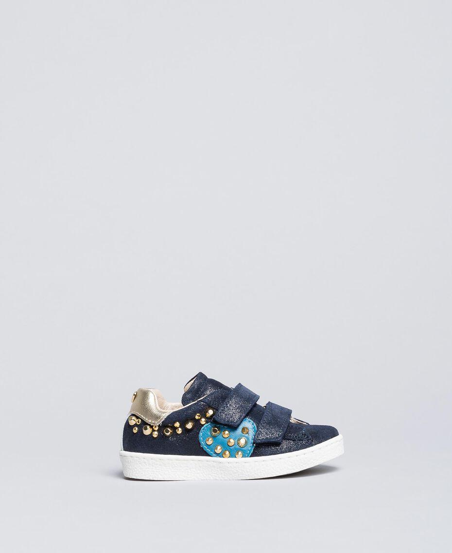 Sneakers aus Veloursleder mit Nieten Blackout Blau Kind HA86BQ-01