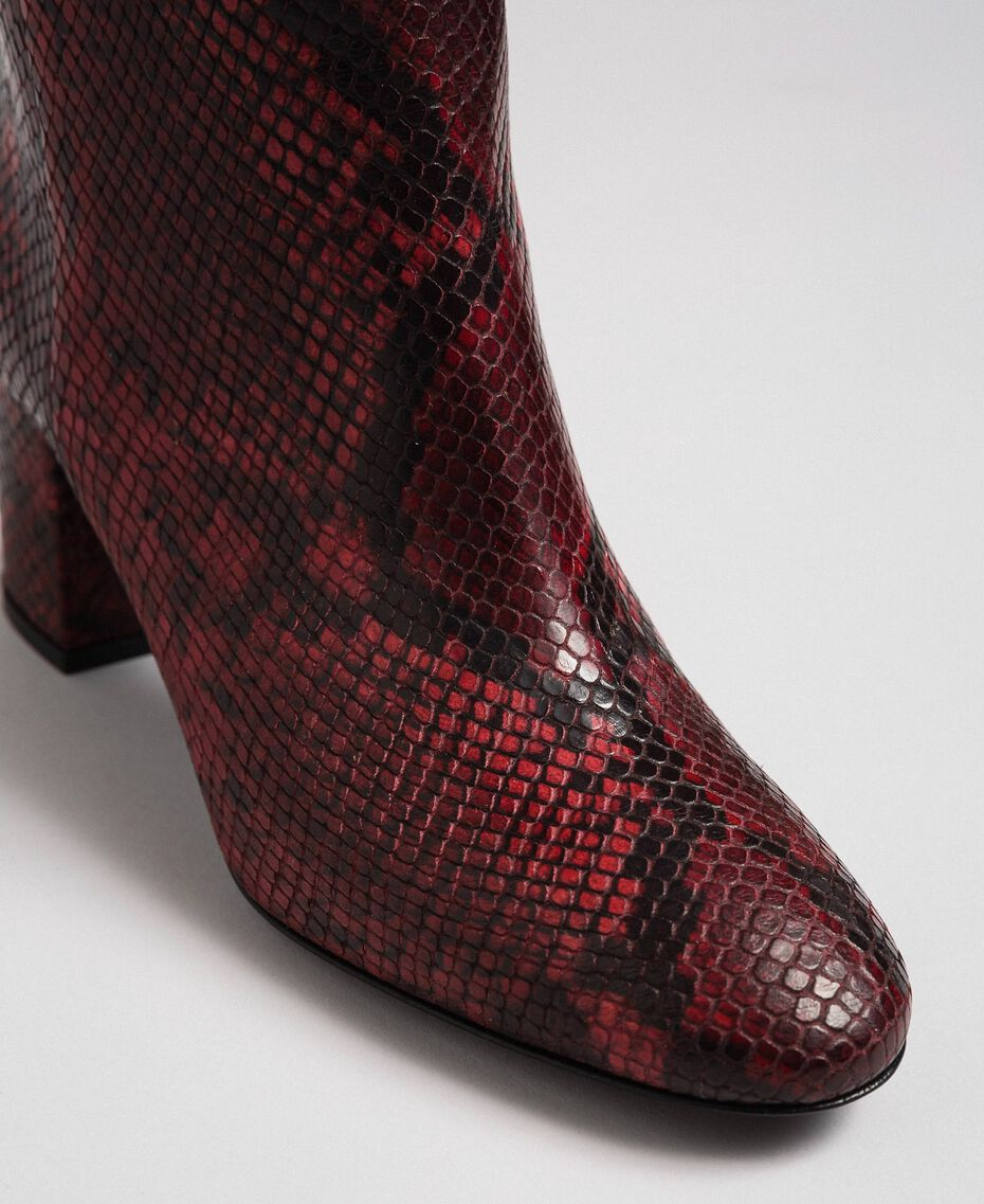 Leather ankle boots with animal print Beet Red Python Print Woman 192TCP12Q-03