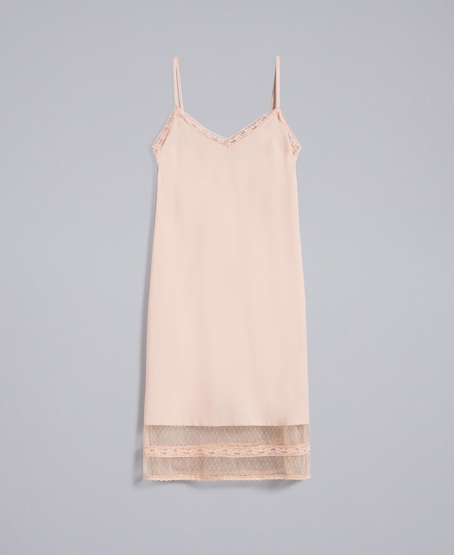 "Crêpe de Chine slip dress ""Nude"" Beige Woman SA82H5-0S"
